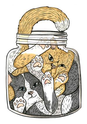 kissa juliste lasipurkki söpö